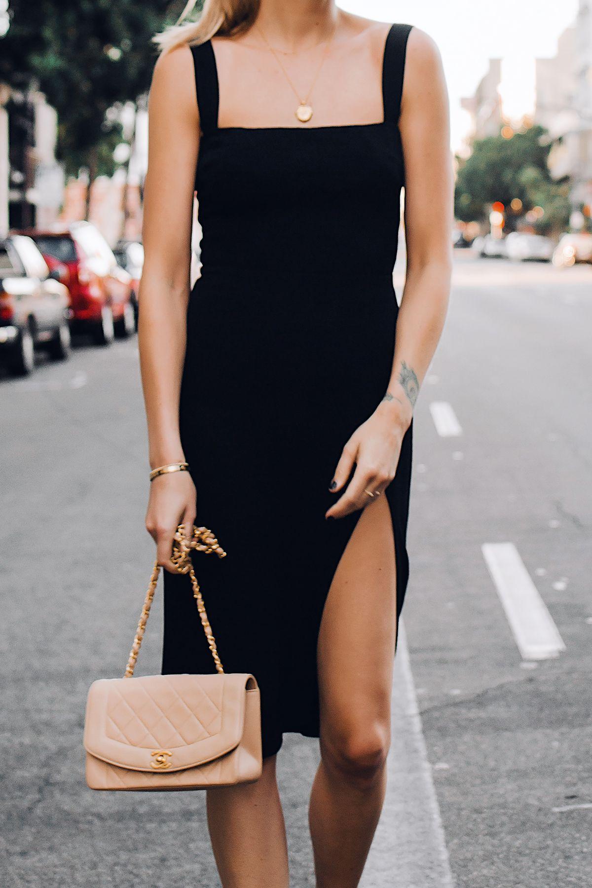 Woman Wearing Reformation Black Dress Chanel Tan Diana Handbag Gold Coin Necklace Fashion Jackson Dresses To Wear To A Wedding Black Dresses Classy Black Dress [ 1800 x 1200 Pixel ]