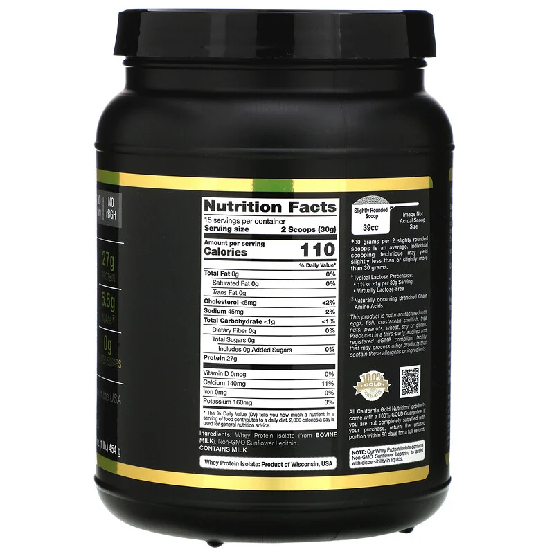 California Gold Nutrition Sport بروتين شرش اللبن المعزول 16 أونصة Nutrition Nutrition Facts Unflavored