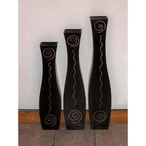 juego de jarrones de madera minimalistas modernos - Jarrones Modernos