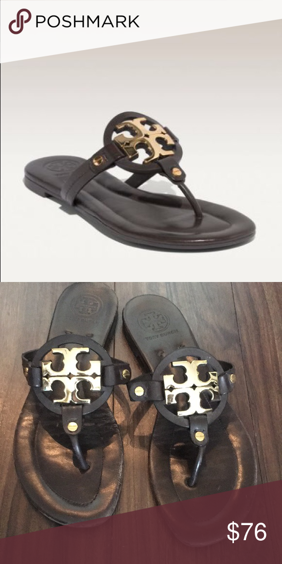 f76d6e74fc0d26 Tori Burch Miller Sandal Tory Burch Miller Sandal with Metal Logo. Brown  leather shoes are in good condition and were minimally worn.