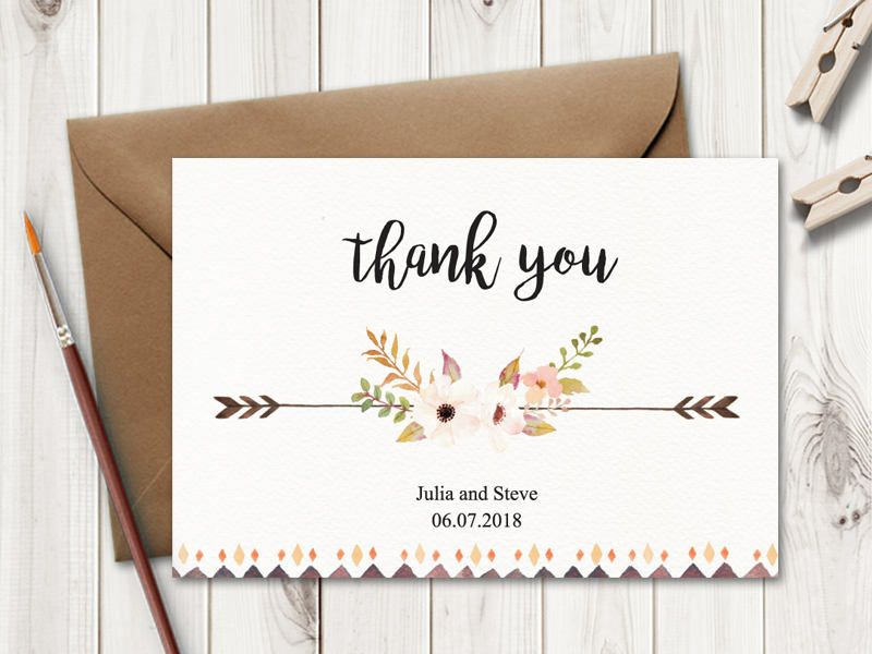 Rustic Wedding Thank You Card Template  - microsoft word thank you card template