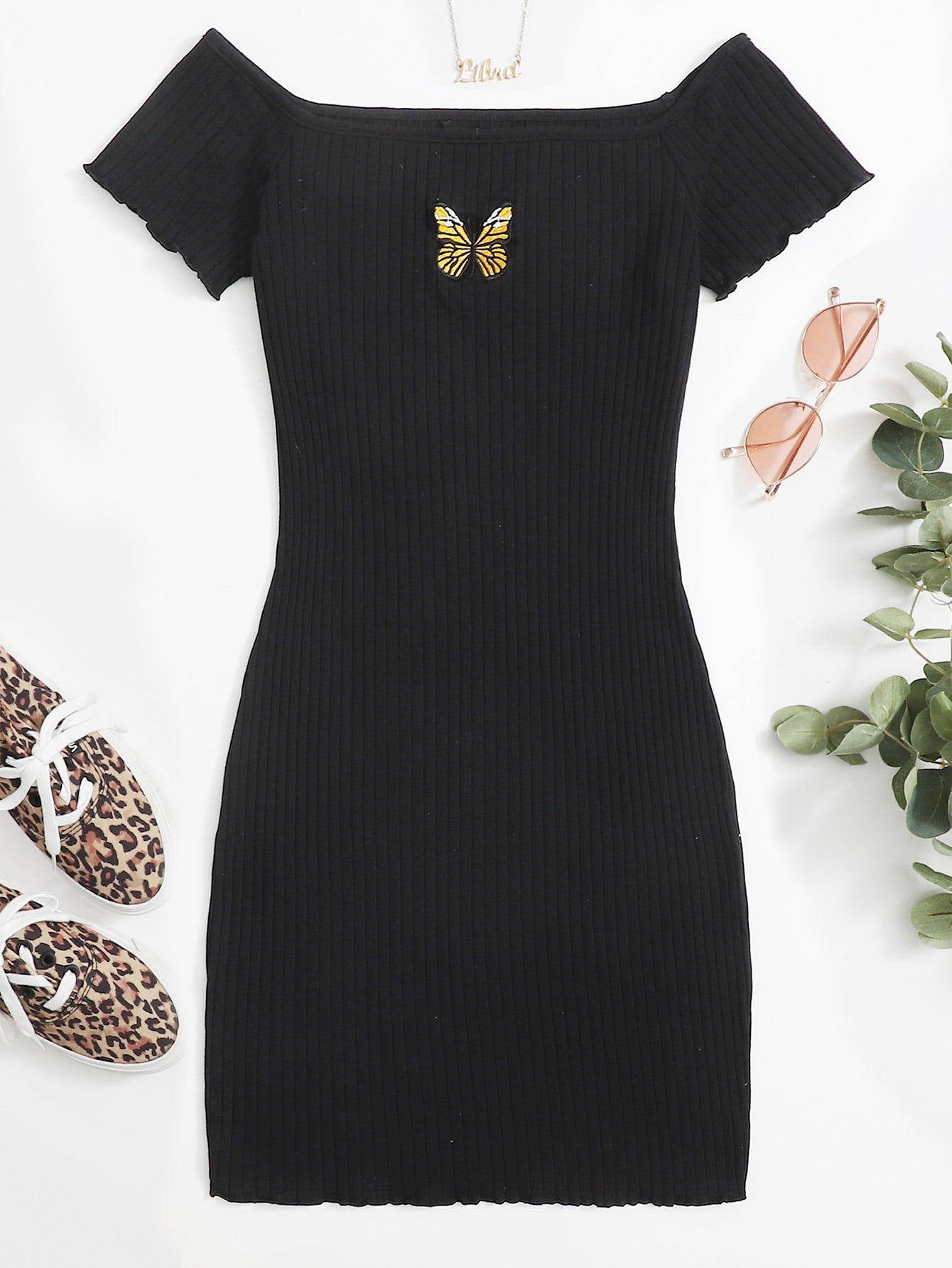 Lettuce Trim Embroidery Butterfly Rib Knit Dress Shein Usa Ribbed Knit Dress Fashion Tops Blouse Dresses [ 1785 x 1340 Pixel ]