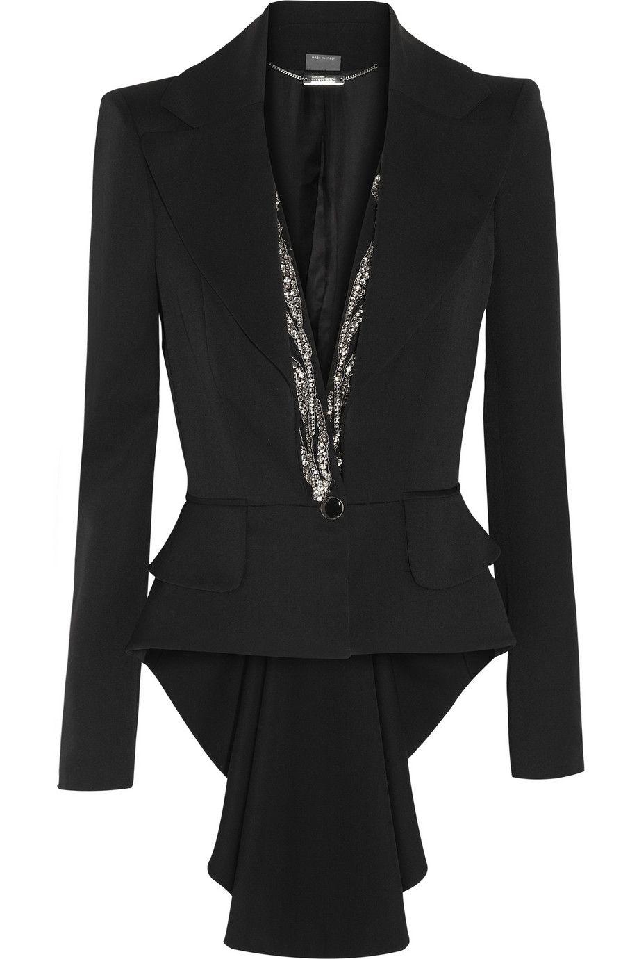 Alexander McQueen   Crystal-embellished wool tailcoat   NET-A-PORTER ... 975de48ab02