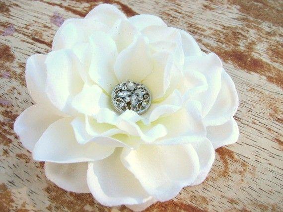 White Flower Fascinator Hair Clip Gardenia with Rhinestone Button Center