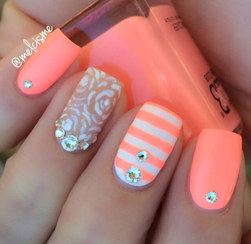 Outline roses amp; stripes nail art by Melissa melissa p nail art - Nail Art #Art #art #NailArt