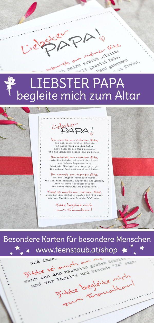 Zum Altar führen, verlobt - Karte für Papa fragen - feenstaub.at | SHOP