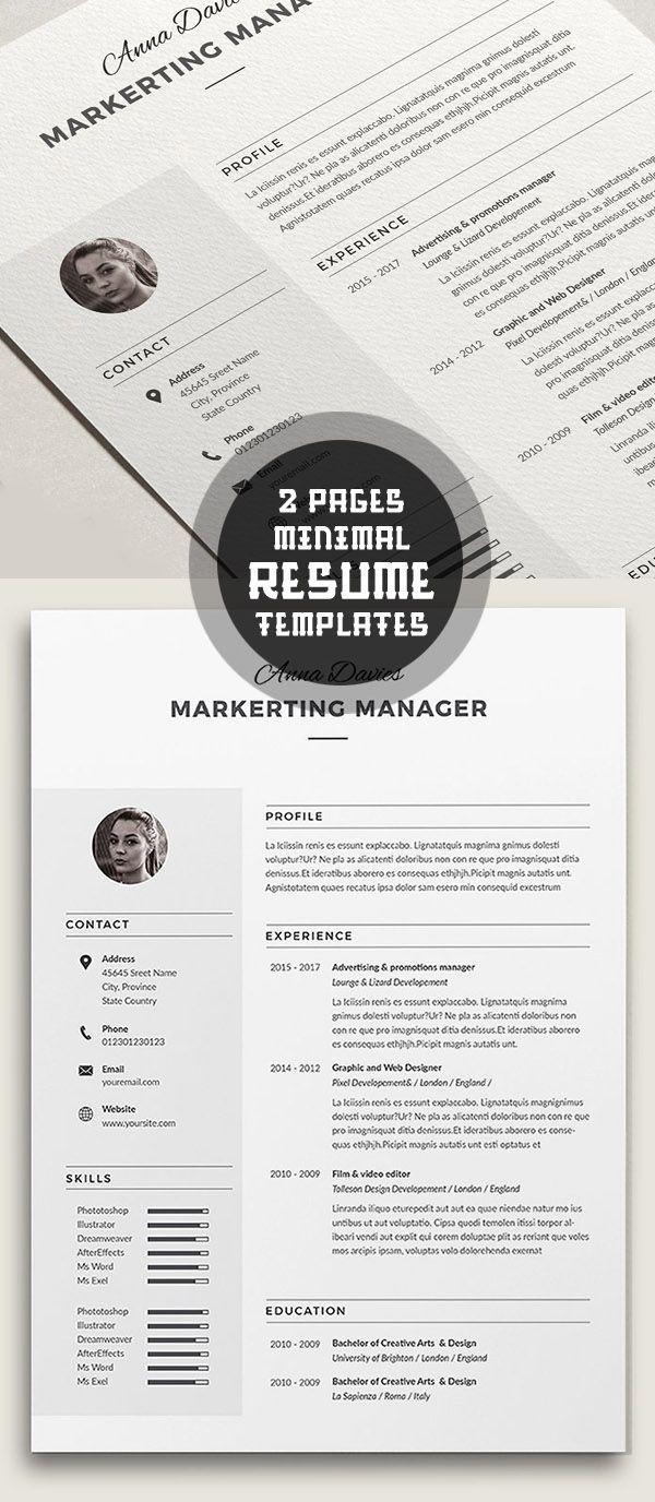 50 Best Minimal Resume Templates - 2 #minimalresume #resumetemplates ...