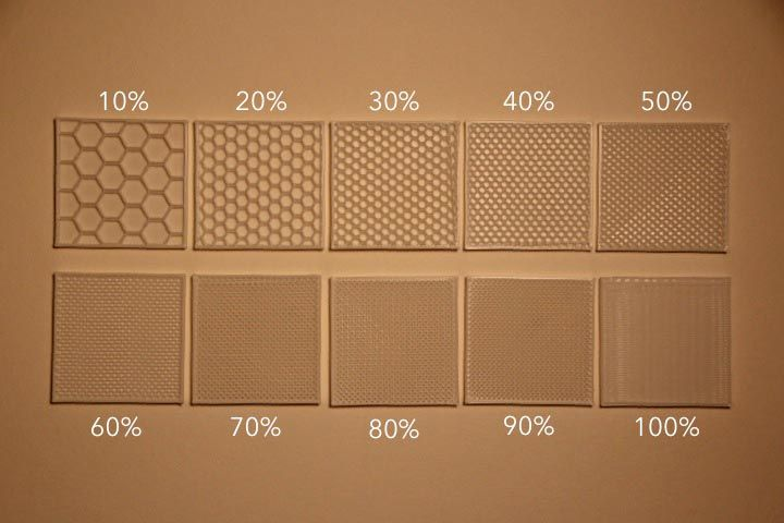 Intro to 3D Printing infill percentage, number of shells