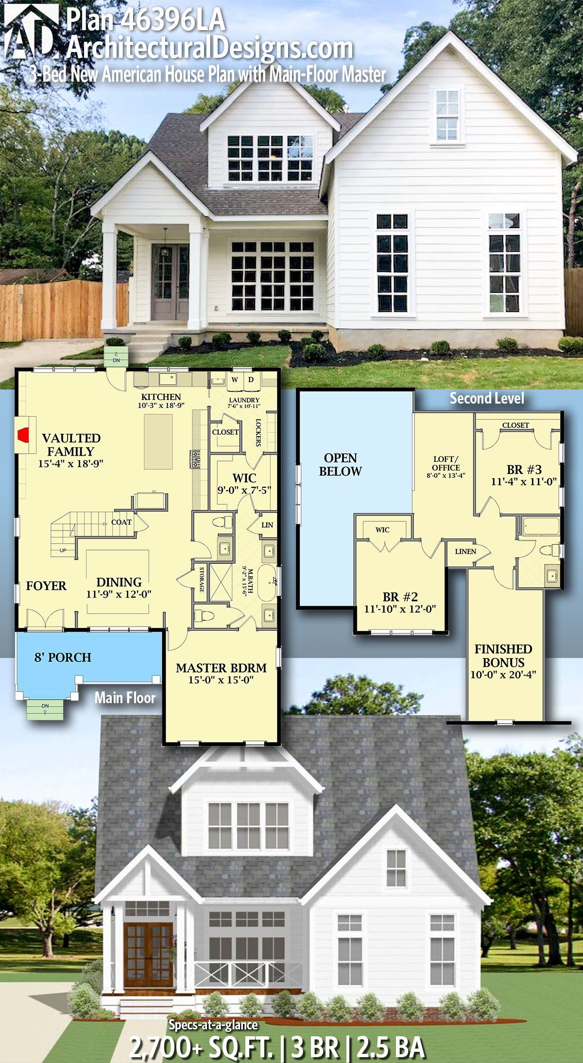 Architectural Designs New American Home Plan 46396la Gives You 3 Bedrooms 2 5 Baths And 2 700 Sq Ft Ready Whe New House Plans House Plans Dream House Plans