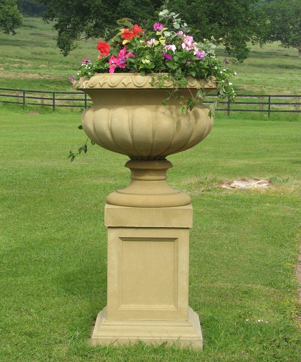 Stone Garden Troughs Large stone garden planters greenfain victorian stone plant tazza on pedestal large garden planter buy workwithnaturefo