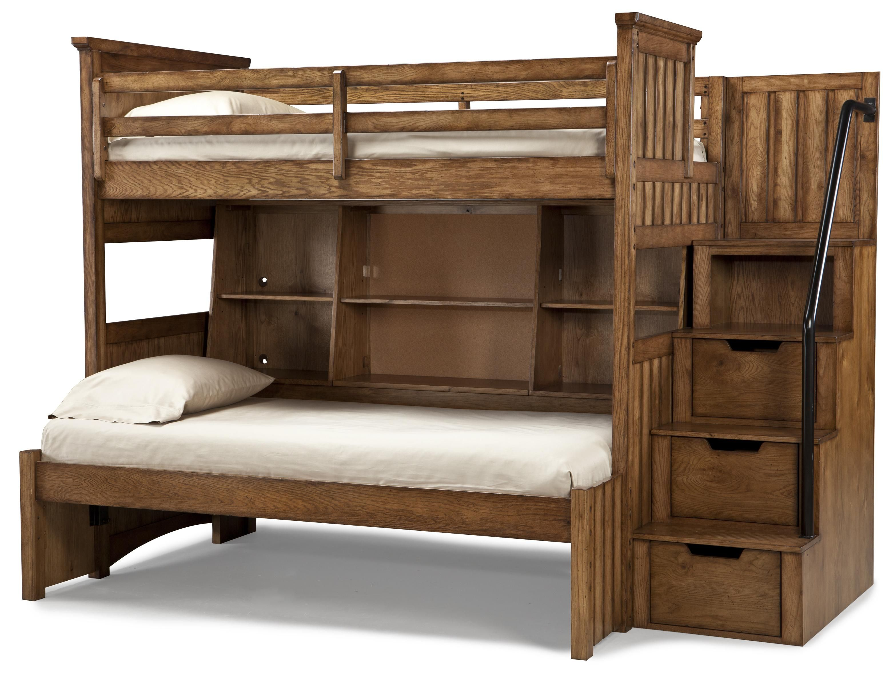 classic wooden unfinished bunk beds with stairs hidden storage as well as open shelves built in