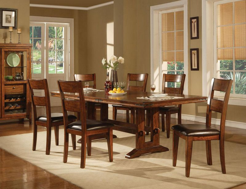 7 Pc Country Dark Oak Wood Dining Set Leaf Table Chairs Leather