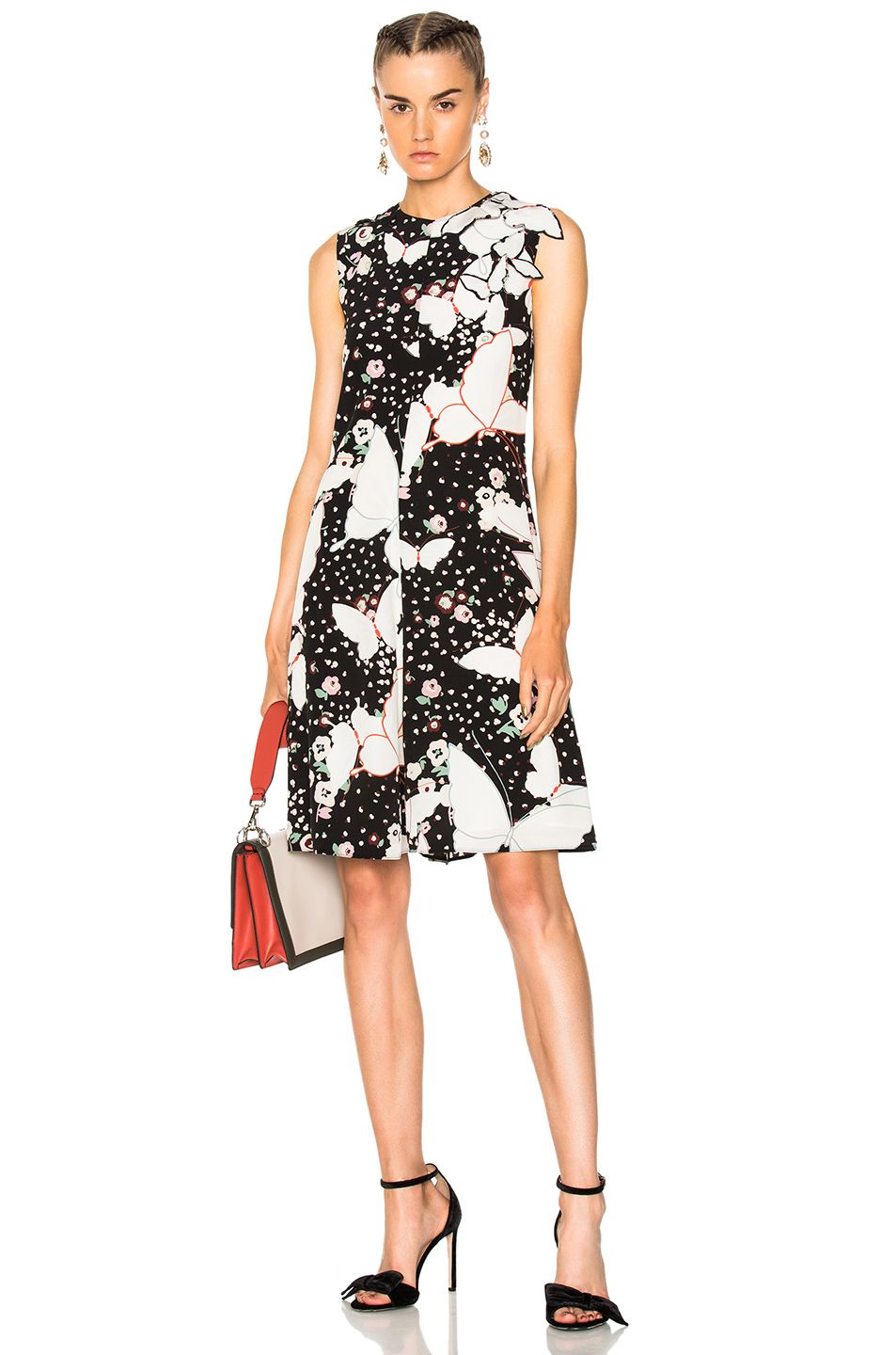 7e0e1453e6c20 Valentino Butterfly Print Crepe de Chine Sleeveless Dress in Black | FWRD