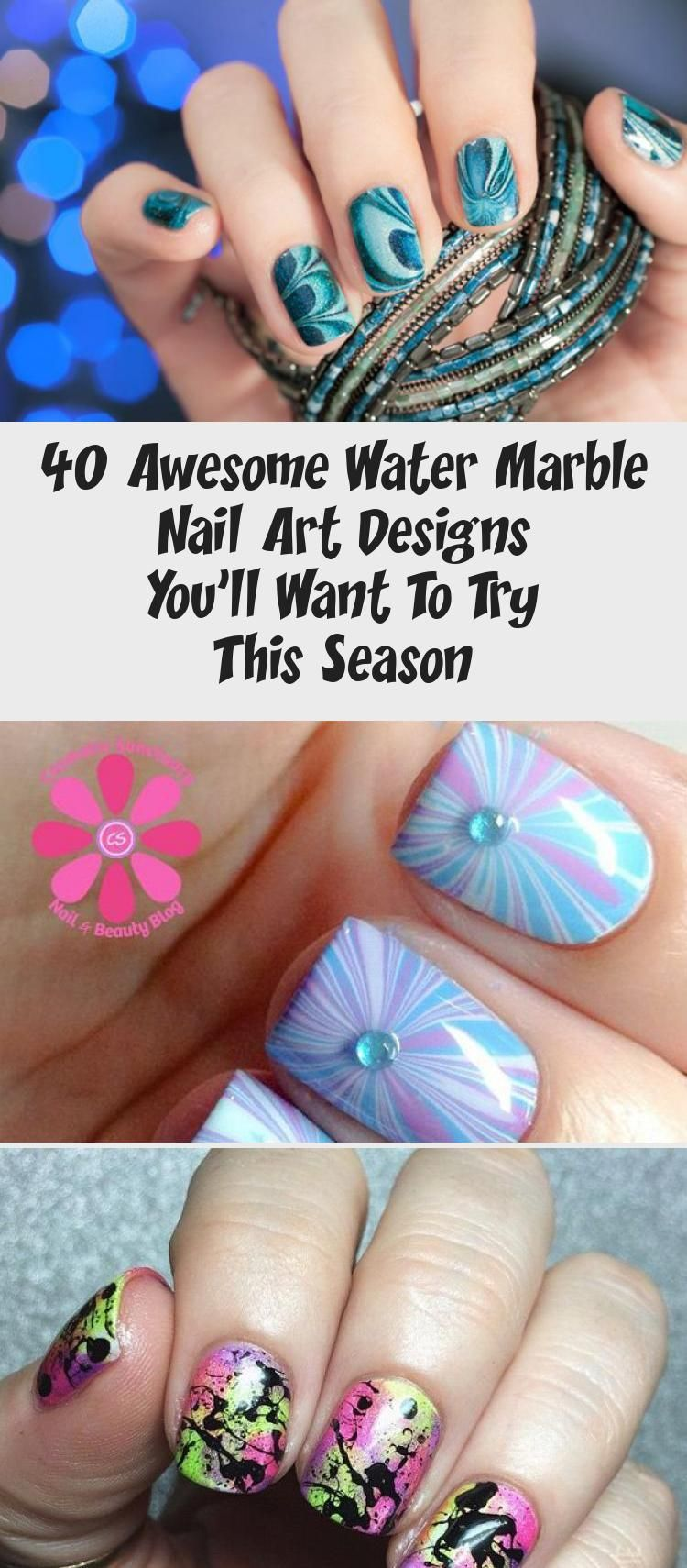 40 Awesome Water Marble Nail Art Designs You Ll Want To Try This Season Water Marble Nail Art Marble Nail Art Dark Nail Designs