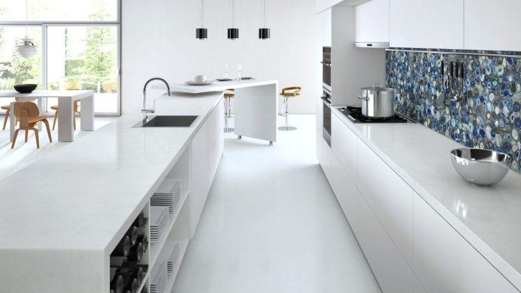 Plan de travail cuisine en blanc quartz ou corian kitchens