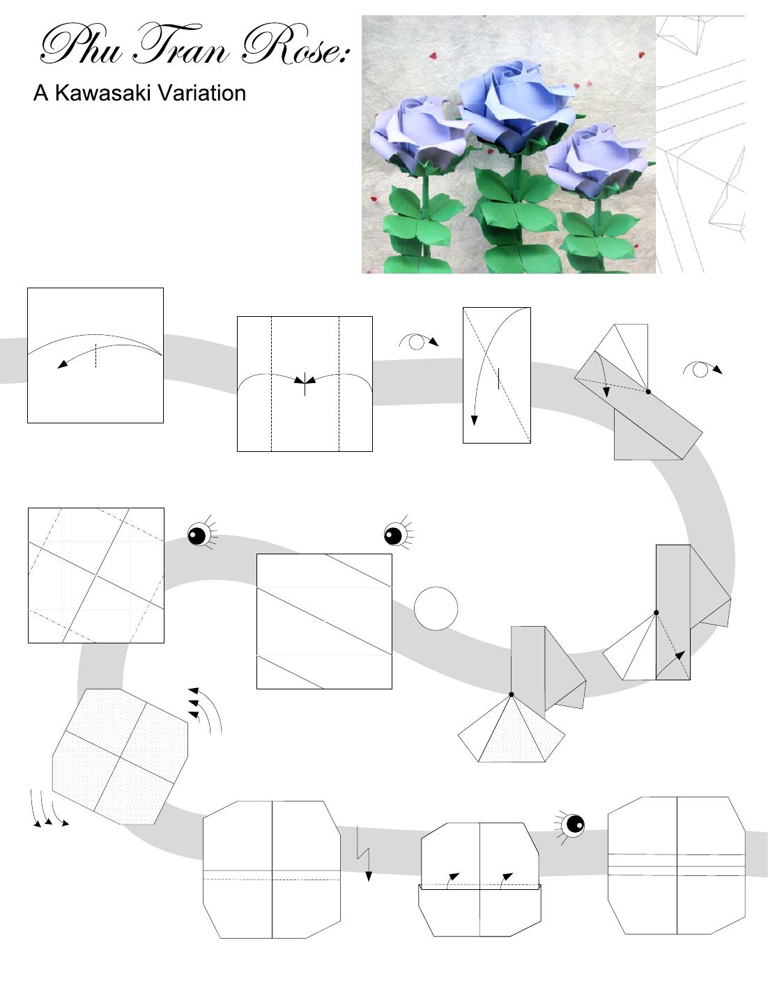 Origami Rose Diagram Phu Tran Roses Easy Diagrams Love Flowers Paper