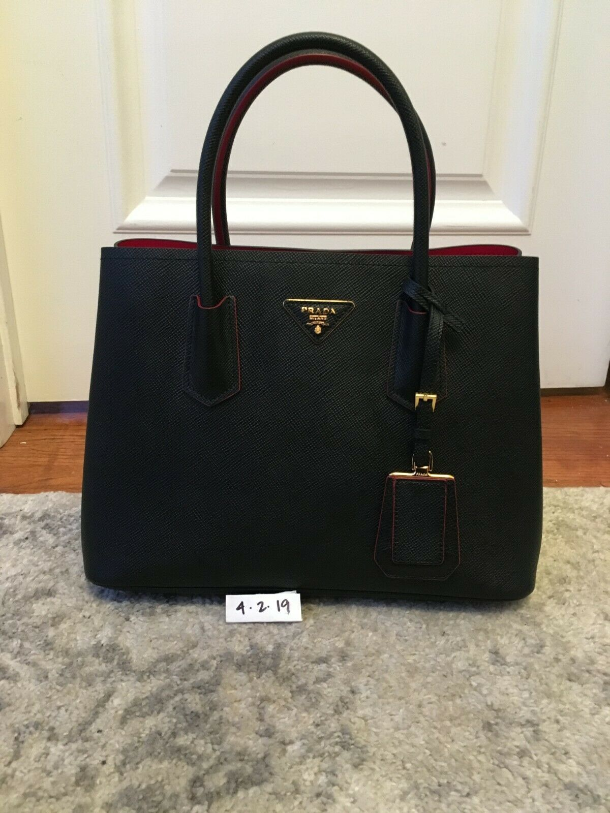 61cd678e6f83 PRADA Saffiano Cuir Small Double Bag Black Red (Nero Fuoco) Excellent  Condition