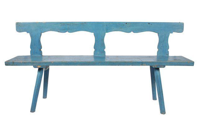 Antique Scandinavian Bench Scandinavian Benches Blue Bench Vintage Decor