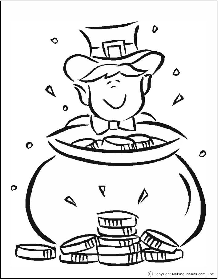 Pot of Gold Coloring Page | Coloring Pages | Pinterest | March ...