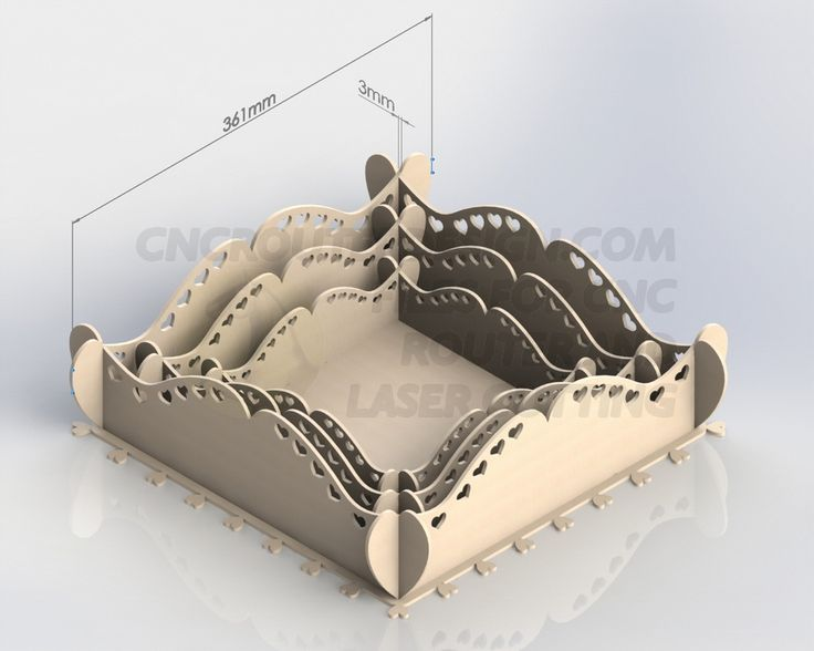 DXF for Laser Cutting of 3 Heart Trays Aspire ArtCAM VCarve