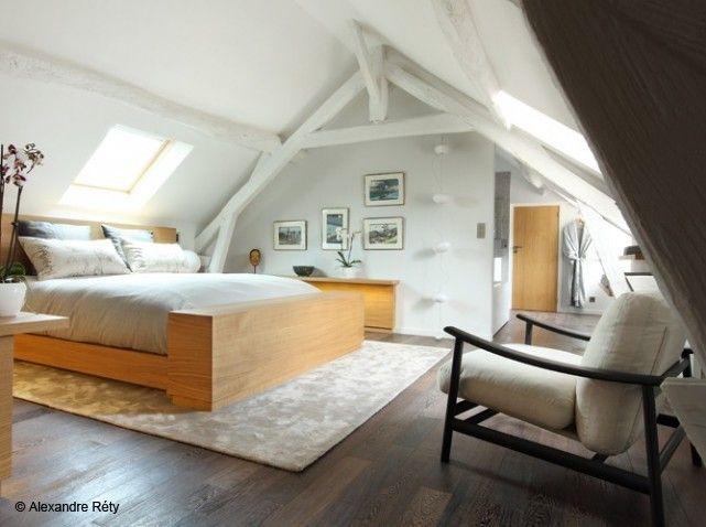 Chambre parentale combles http://www.m-habitat.fr/par-pieces/cave ...