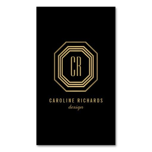 Glamorous 1970's style Vintage Gold Art Deco Initials Monogrammed Business Card Template - designed for creative professionals, great for interior designers, decorators, stylists, salons, fashion bloggers, and more. Easy to personalize and order!