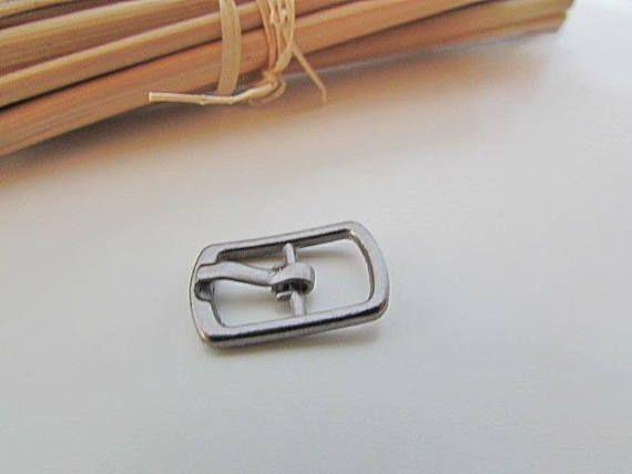 fab479ed954 5 small belt buckle for strap max 8mm - dark grey metal - 1.8 x 1.2 ...