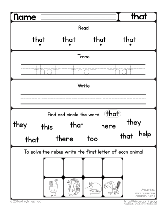 Sight Word That Worksheet Primarylearning Org Sight Words Kindergarten Sight Word Worksheets Sight Words