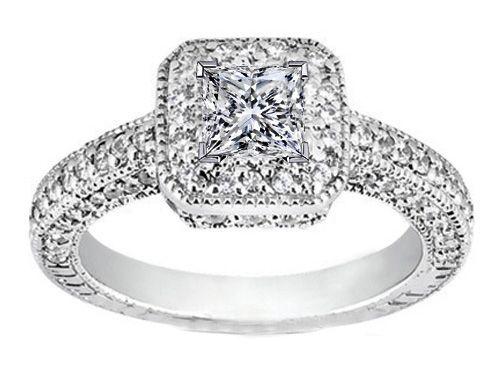 princess cut diamond engagement ring vintage pave halo in 14k white gold 088 tcw - Princes Cut Wedding Rings