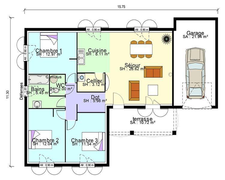 Plan maison contemporaine plain pied en L 3 chambres et garage #Plansdemaisoncontemporaine ...