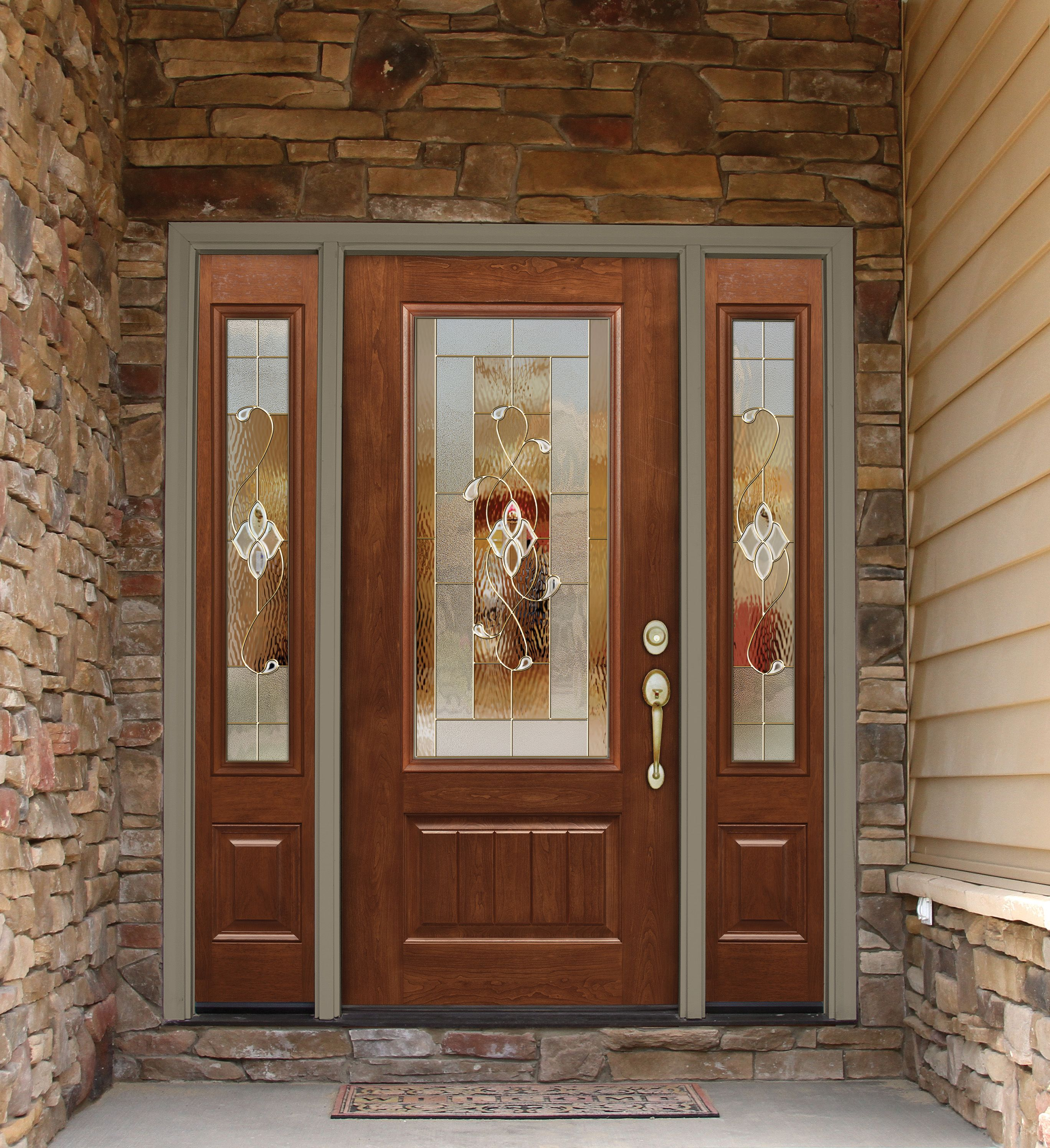 Essence Decorative Glass From Provia Is Shown Here On This Beautiful Signet Fiberglass Door And Sidelites Stained Glass Door Entry Doors Decorative Door Glass