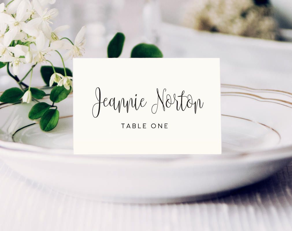 Place Cards Template, Wedding Place Cards, Wedding Place Card ...