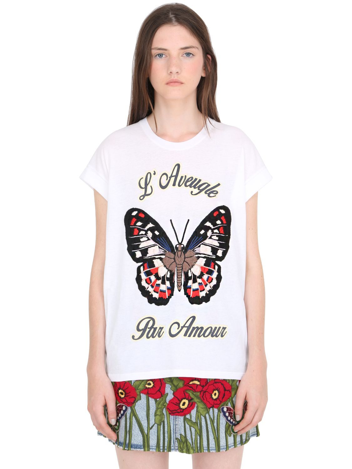 f94d7ad0773b gucci belt sale selfridges, GUCCI BUTTERFLY EMBROIDERED JERSEY T-SHIRT  WHITE OTIzMA2 WOMEN CLOTHING
