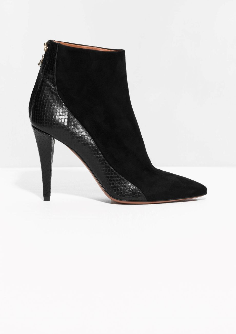 & Other Stories | Suede Reptile Embossed Boots