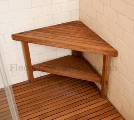 Bathroom And Shower Teak Wood Triangle Corner Bench I M