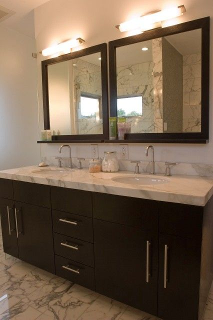 Fiorella Design Bathrooms Modern Espresso Stained Double Bathroom Vanity Marble Countertops Sinks Wood Framed
