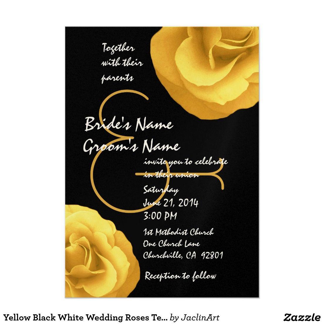 Yellow Black White Wedding Roses Template 13 Cm X 18 Cm Invitation