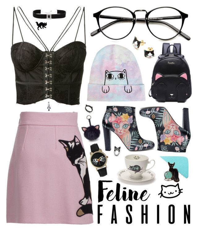 """Fxmme Feline"" by alexis-marie-burroughs ❤ liked on Polyvore featuring Misha, Kenneth Jay Lane, Camilla Elphick, Kate Spade, MSGM, Under One Sky, Mrs Moore, Olivia Pratt and Halftone Bodyworks"
