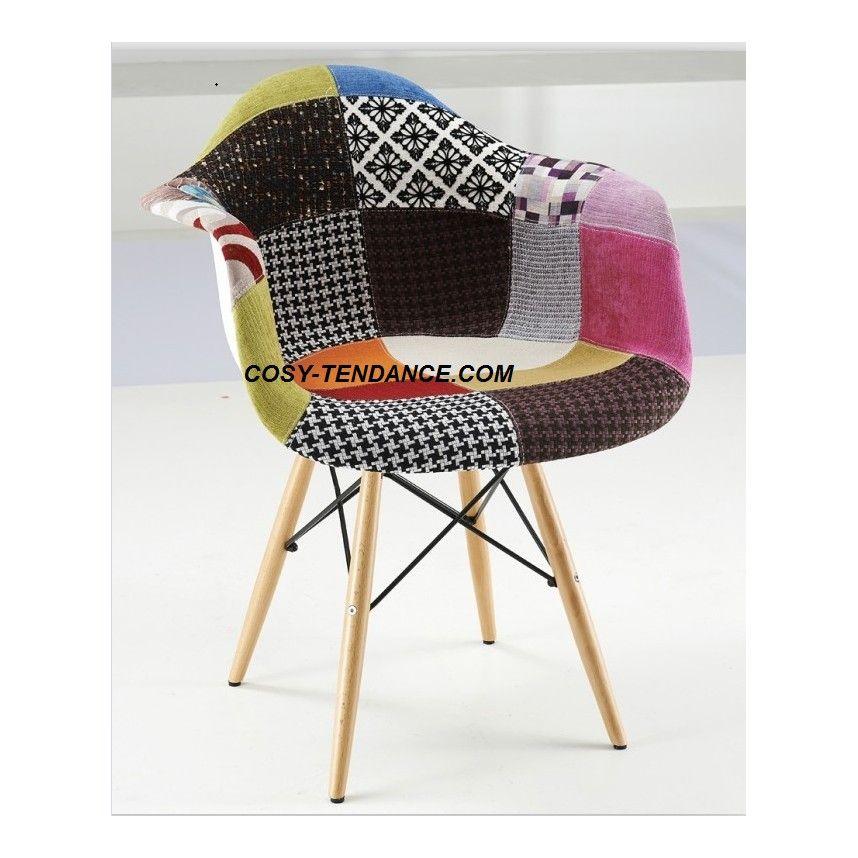 Lot de 2 fauteuils tendance 3 en 2019 scandinave style fauteuil patchwork chaise pied bois - Recouvrir chaise tissu ...
