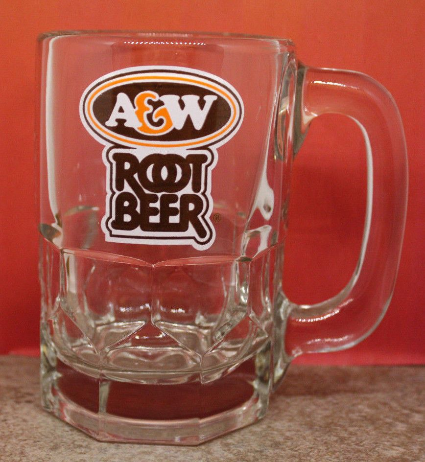 AW Canada Advertising Root Beer Logo Glass Mug Stein 12cm 4 3 Tall