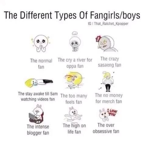 Different Types Of Fangirls And Fanboys I M The One With No Money For Merchandise T T Oh Well It Doesn T Matte Funny Kpop Memes How To Stay Awake Fangirl