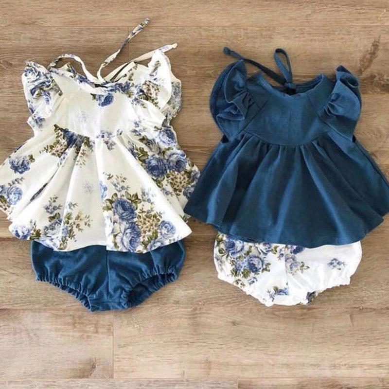 USA Newborn Infant Kids Baby Girl Floral Tops Dress Shorts Pants Clothes Outfits