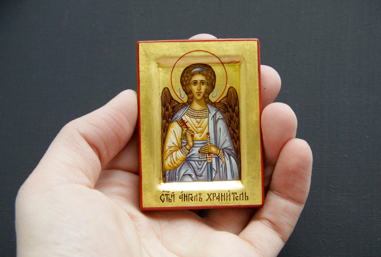 Saint Angel Guardian Hand Painted Icon Pocket Christian