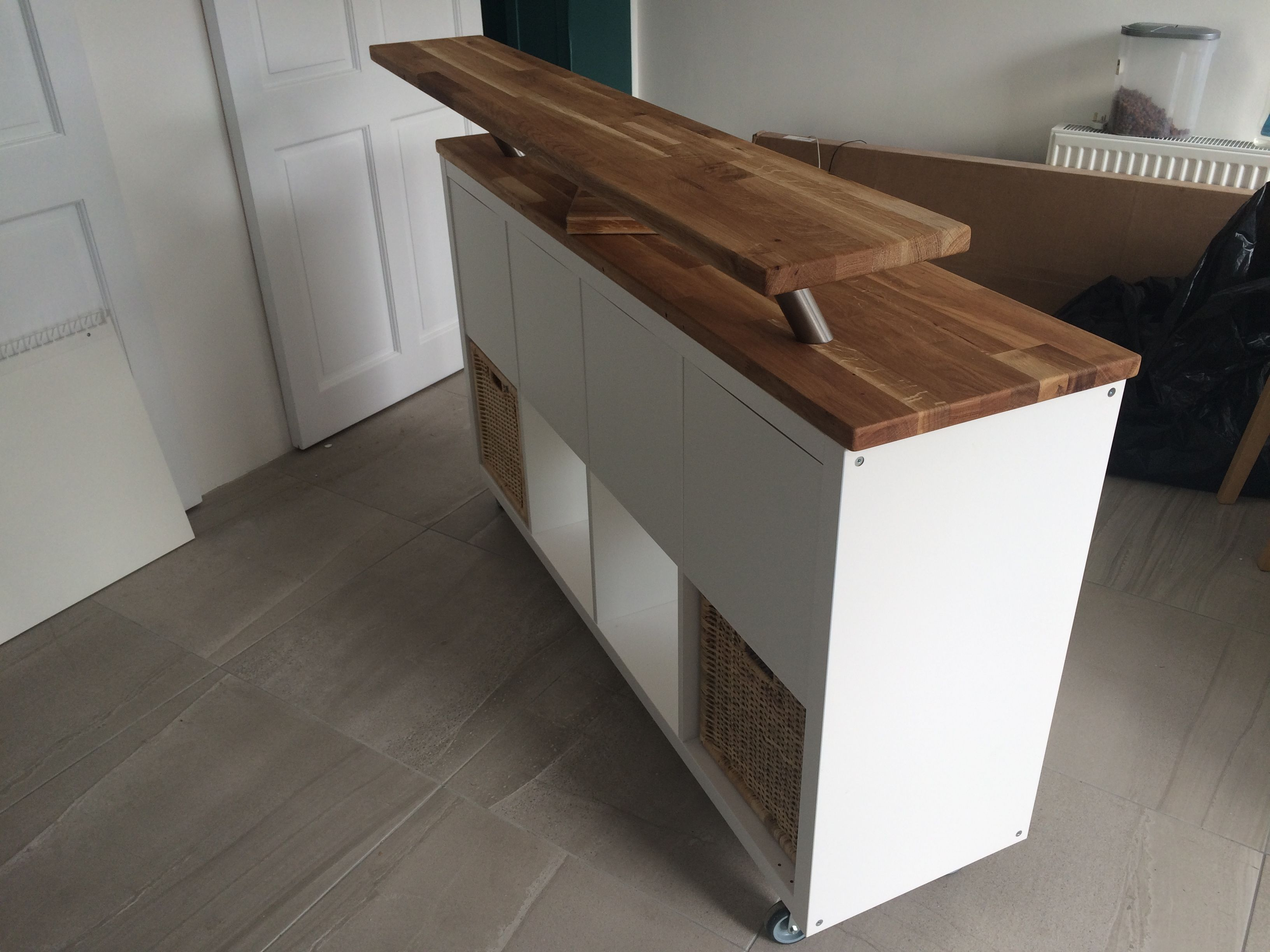 Ikea Hack. Kitchen Island + Breakfast Bar. Kallax On Heavy Duty Casters  With Offcuts Of Hammar Solid Wood Counter Top.
