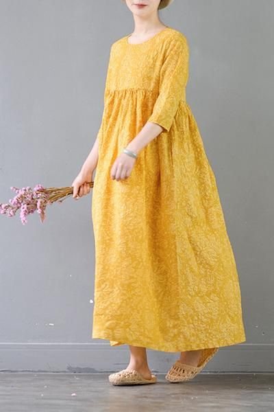 b2b78eeda0a65 Summer Flower Yellow Casual Cotton Dresses 3/4 Sleeve Women Clothes ...