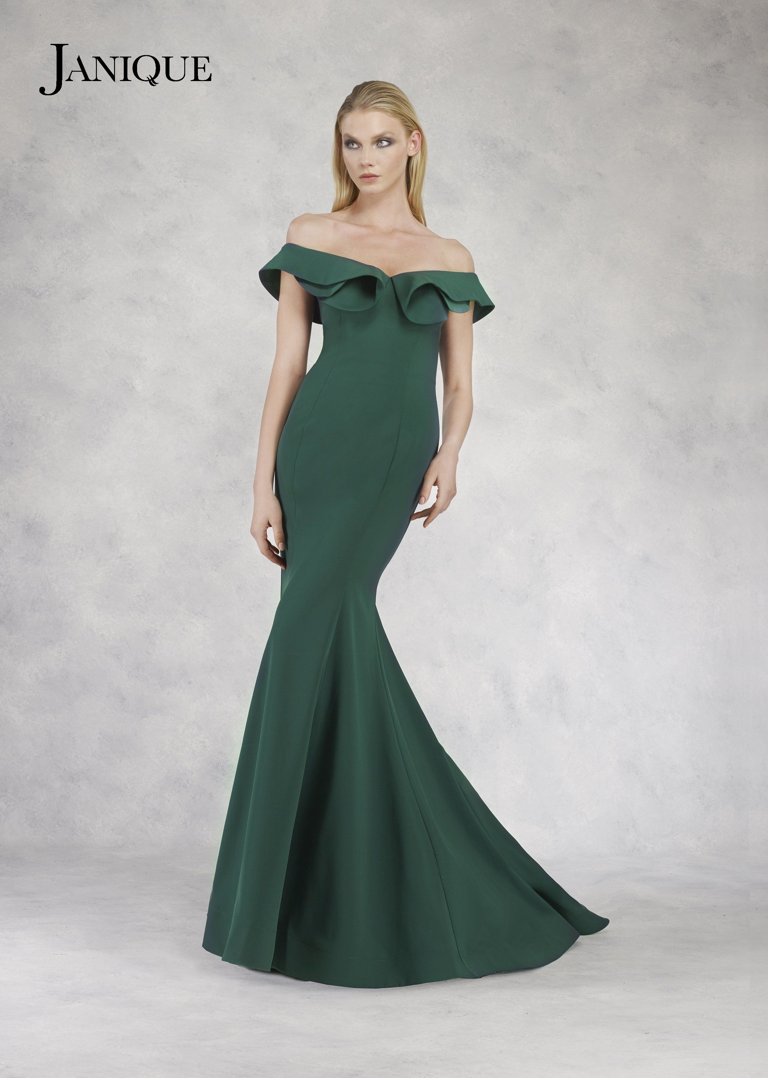 Janique sydney ruffled fitted evening gown products pinterest
