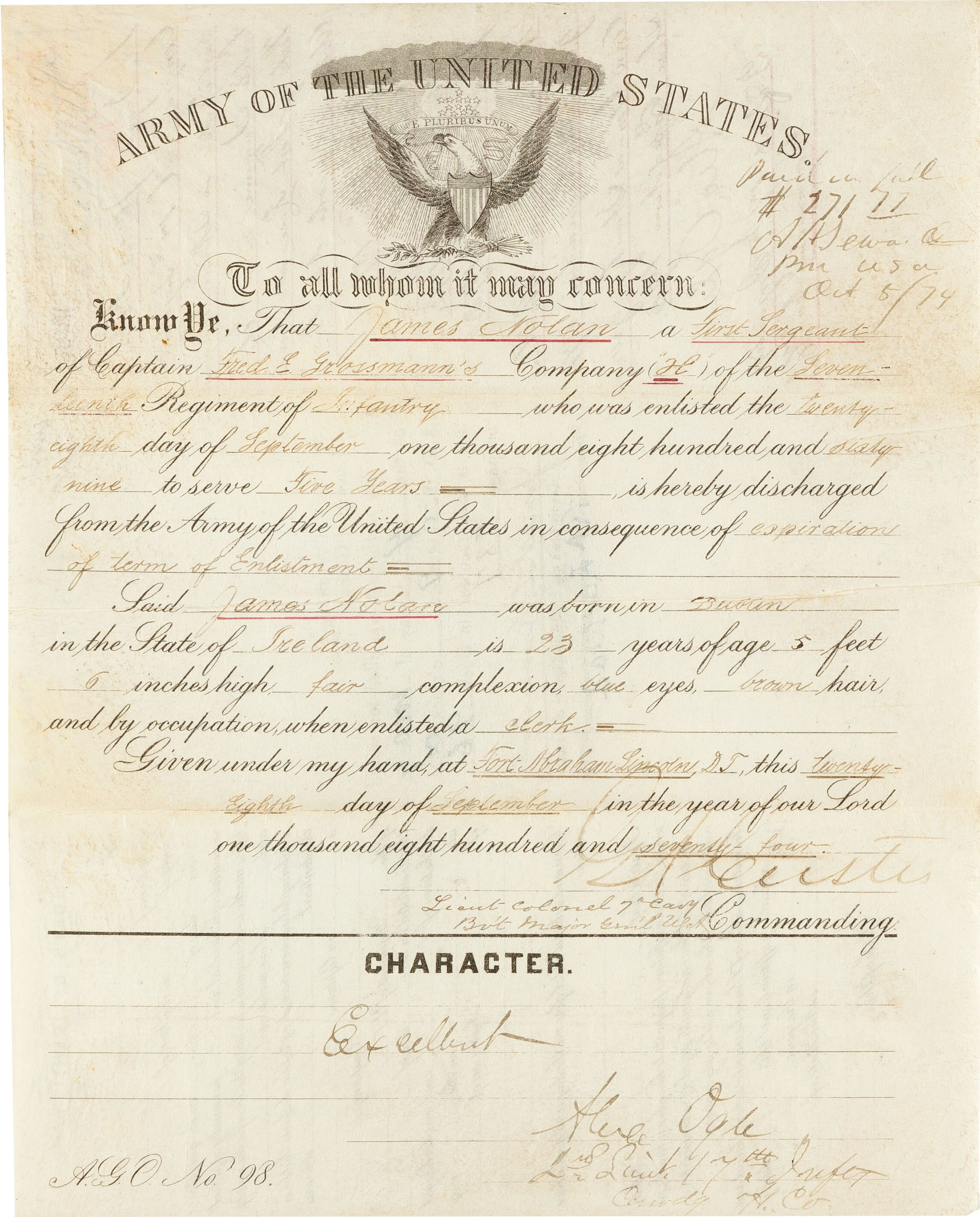 The Us Army Honorable Discharge Certificate Issued To James Nolan