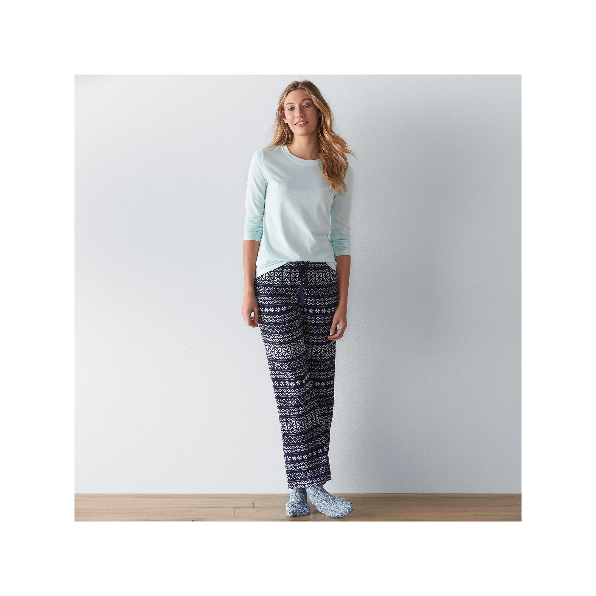 Women's SONOMA Goods for Life™ Pajamas: Knit & Microfleece PJ Set with Socks, Blue (Navy)