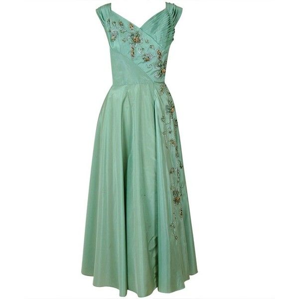 1940's Gothe Mint-Green Beaded Metallic Taffeta Trained Tea-Gown ❤ liked on Polyvore featuring dresses, gowns, 1940, gothic gowns, white evening gowns, gothic ball gowns, tea-length dresses and metallic gown