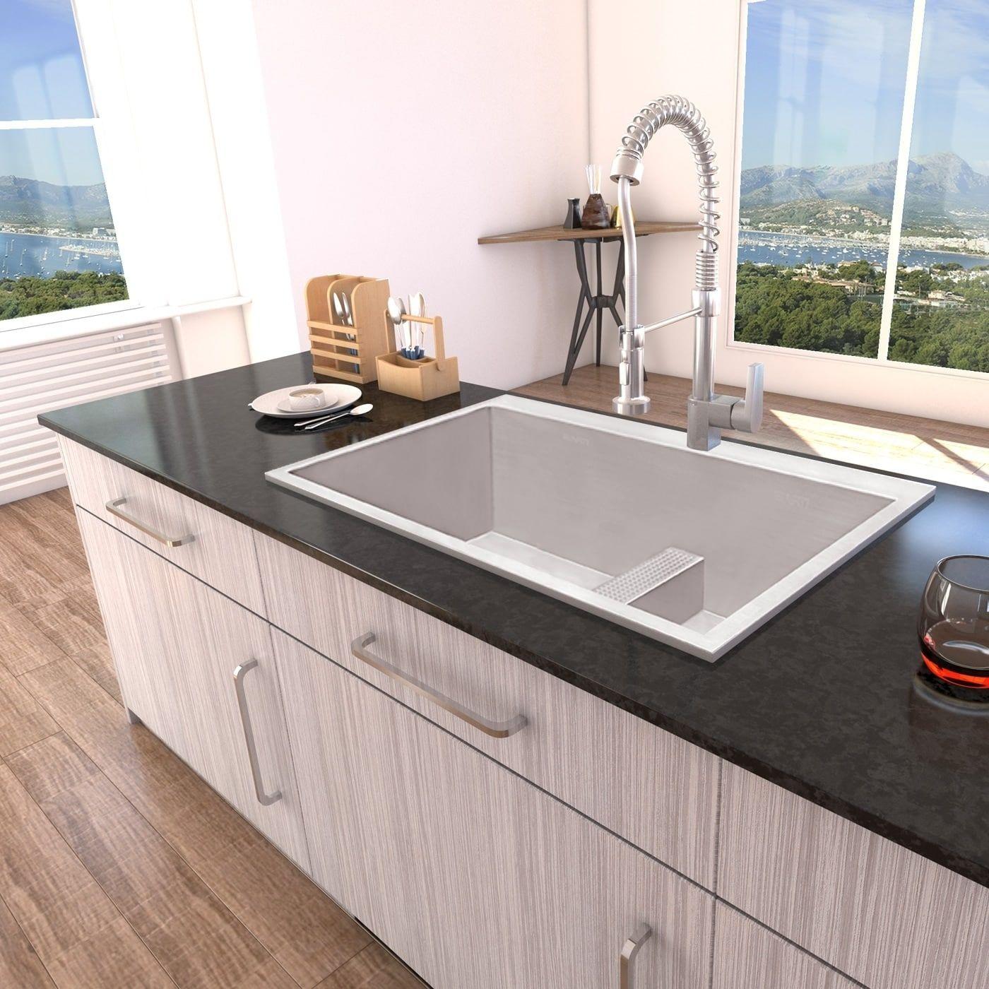 Ruvati 33 Inch Drop In Low Platform Divide Zero Radius 60 40 Double Bowl 16 Gauge Topmount Kitchen Sink Rvh8059 Drop In Kitchen Sink Double Bowl Kitchen Sink Top Mount Kitchen Sink